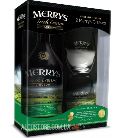 Ликер Merrys Irish Cream + 2 бокала 0,7л